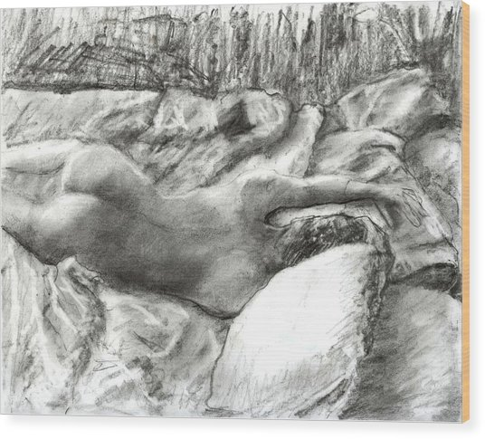 Nude Maria In The Sheets Wood Print by Randy Sprout