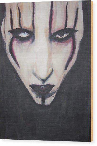 Marilyn Manson Wood Print by Crystal  Rickman
