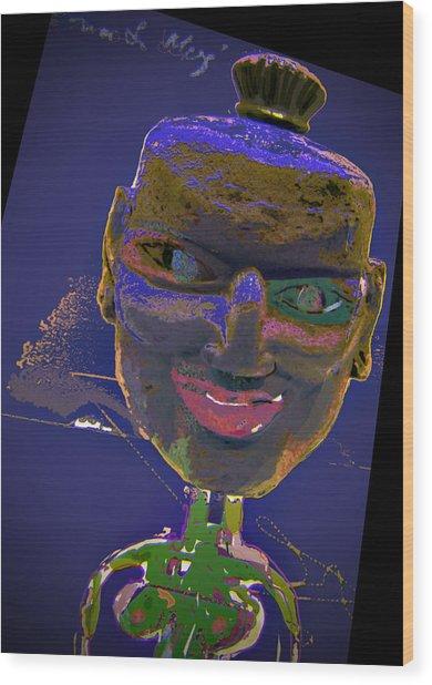 Mask 16 Wood Print by Noredin Morgan