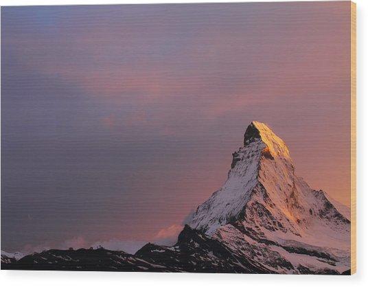 Matterhorn At Sunset Wood Print