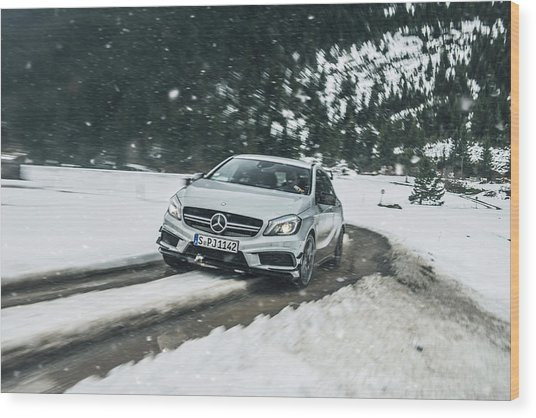 Mercedes Benz A45 Amg Snow Wood Print