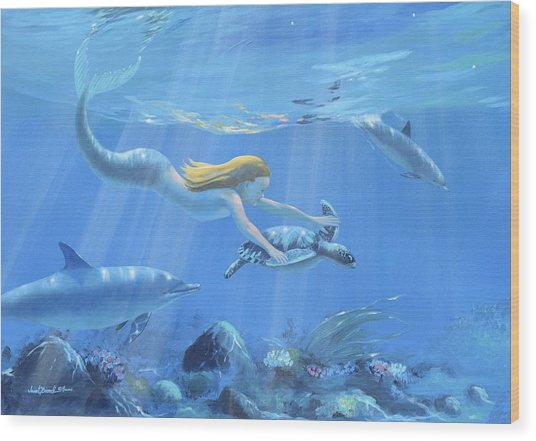 Mermaid Fantasy Wood Print