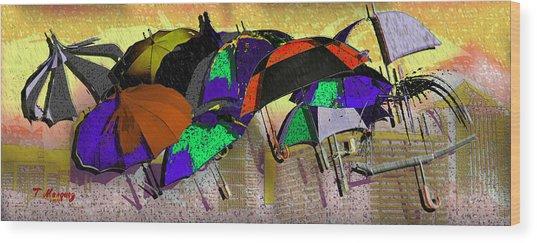 Metro Rains Wood Print by Tony Marquez