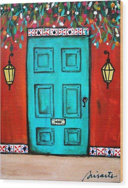 Mexican Door Painting Wood Print