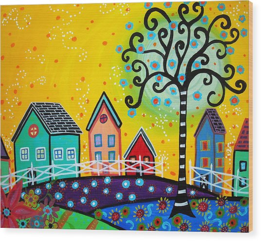 Mexican Town Wood Print