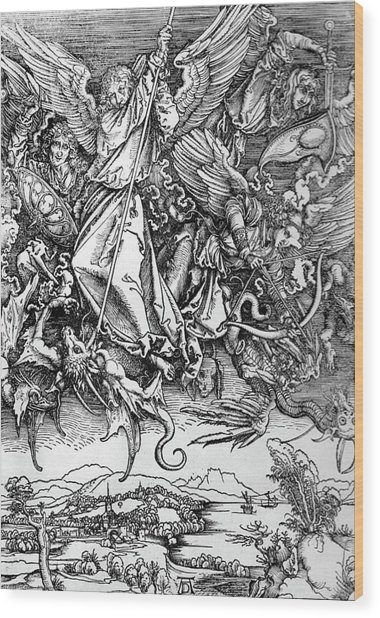Michael Defeats Satan Wood Print