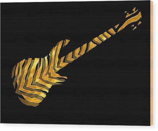 Wood Print featuring the digital art Midas Bass by Guitar Wacky