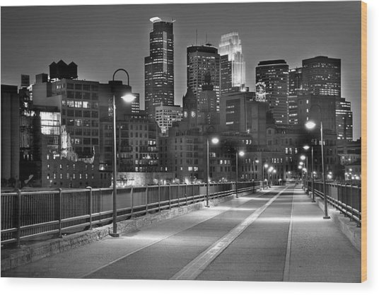 Minneapolis Skyline From Stone Arch Bridge Wood Print