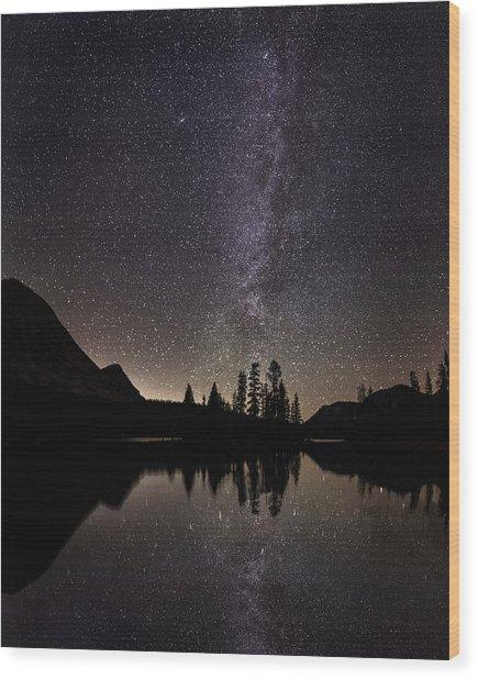 Mirror Lake Milky Way Wood Print