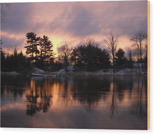 Mississippi River Dawn Light Wood Print
