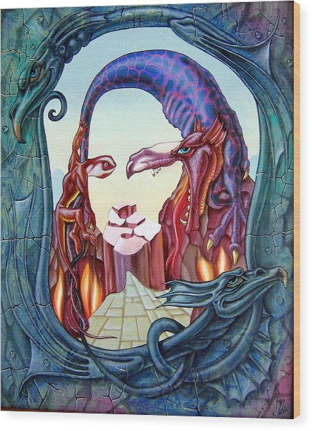 Mona Lisa. Fire Wood Print