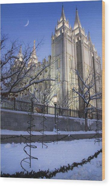 Mormon Temple In Winter Wood Print
