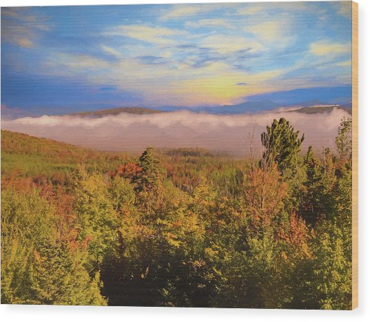 Morning Autumn Landscape Northern New Hampshire Wood Print