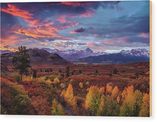 Morning Drama In The Colorado Rockies Wood Print