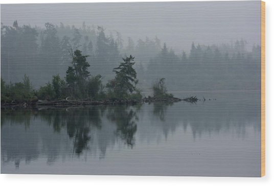 Morning Fog Over Cranberry Lake Wood Print