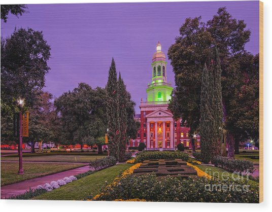 Morning Twilight Shot Of Pat Neff Hall From Founders Mall At Baylor University - Waco Central Texas Wood Print