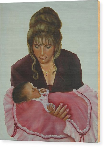 Mother And Child Wood Print by Joni McPherson