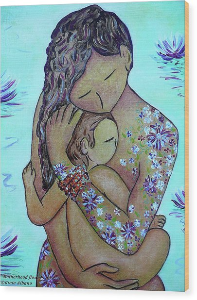Motherhood Flowers All Over Wood Print