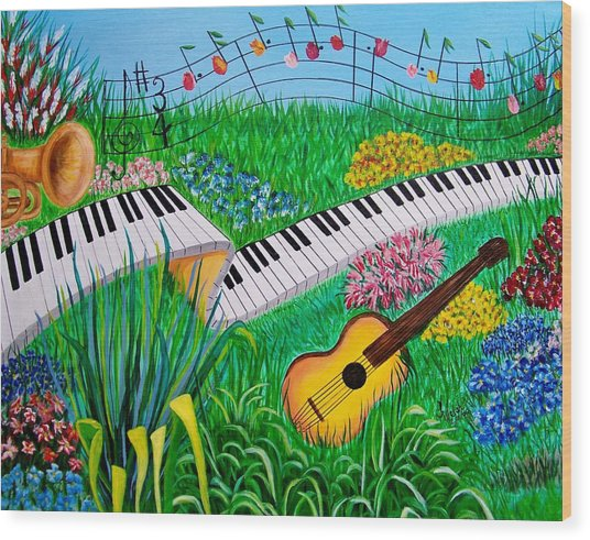 Musical Garden Wood Print by Kathern Welsh