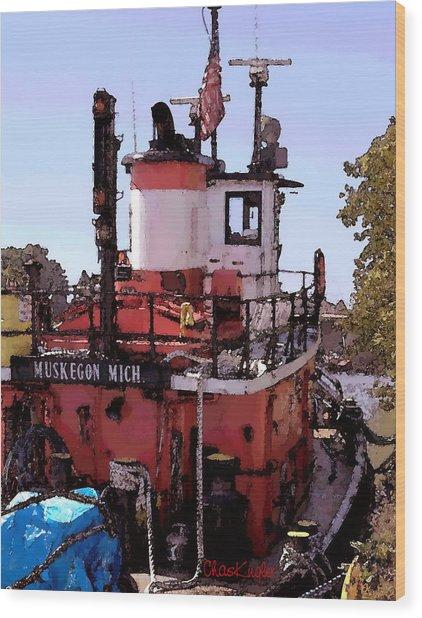 Muskegon Tug Wood Print by Chuck Kugler