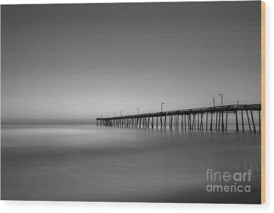 Nags Head Fishing Pier Sunrise Wood Print