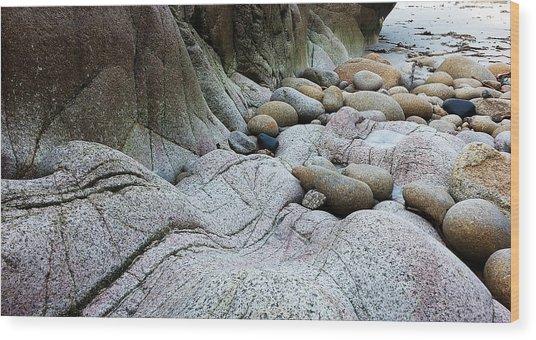 Wood Print featuring the digital art Nanven Rocks by Julian Perry