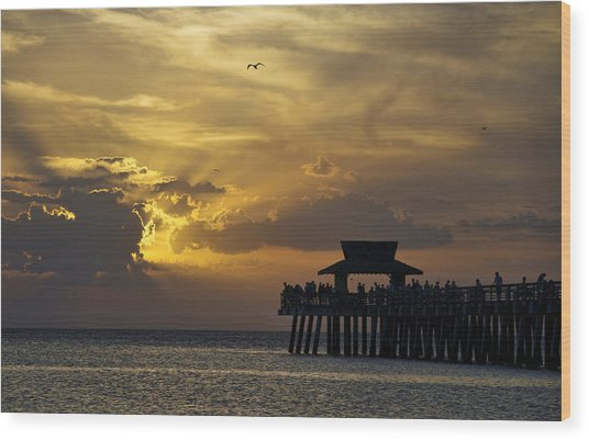 Naples Pier At Sunset Wood Print