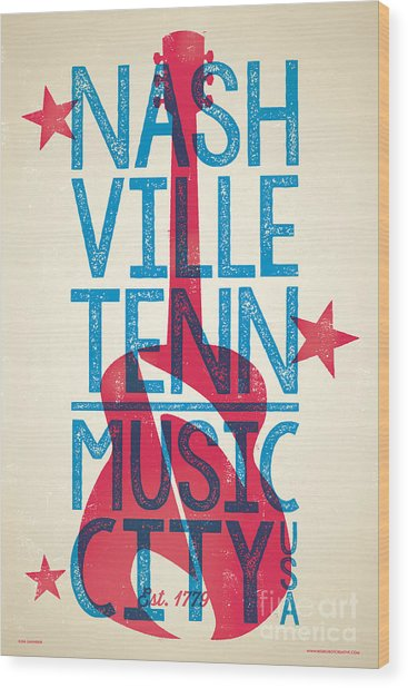 Nashville Tennessee Poster Wood Print