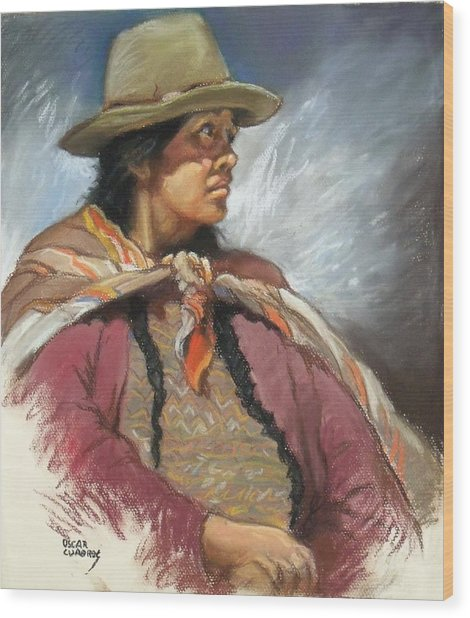 Native Peruvian Woman Wood Print by Oscar Cuadros