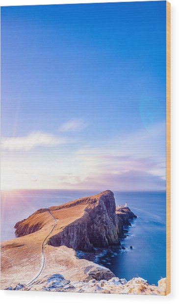 Neist Point Lighthouse At Dawn Wood Print