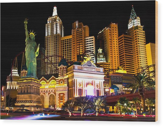 New York  New York Casino Wood Print by James Marvin Phelps