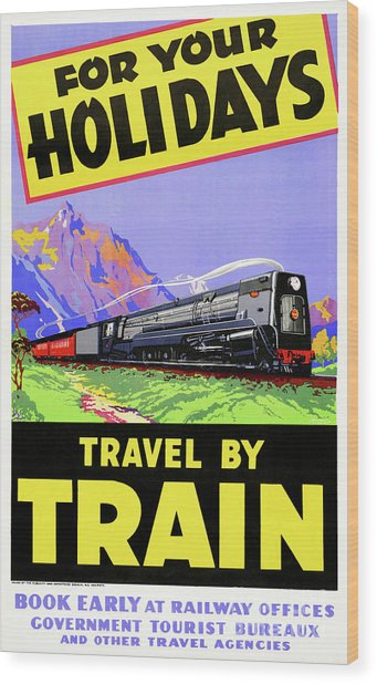 New Zealand Vintage Travel Poster Restored Wood Print