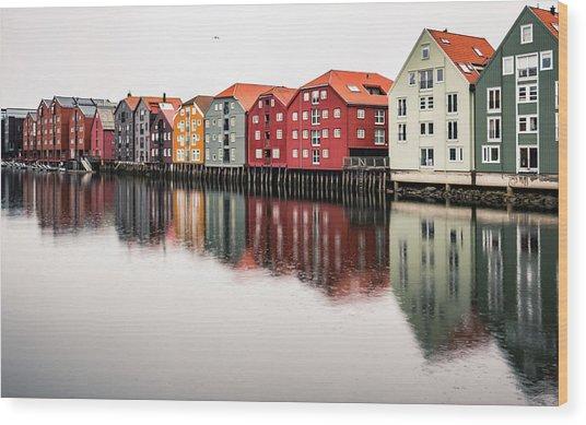 Nidelva Bryggen Trondheim Norway Wood Print