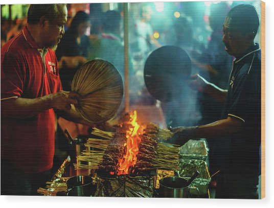 Night Satay II Wood Print