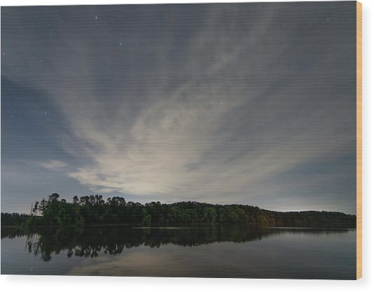 Night Sky Over The Lake Wood Print