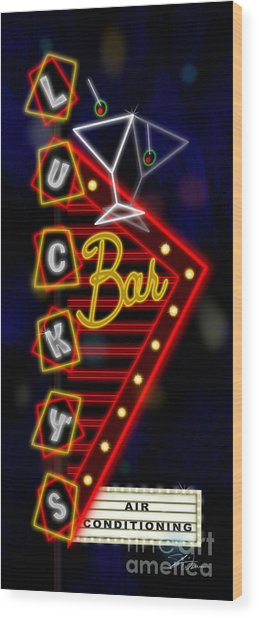 Nightclub Sign Luckys Bar Wood Print