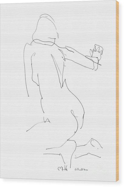 Nude Female Drawings 8 Wood Print