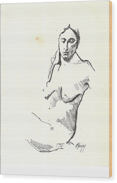 Nude Three Wood Print