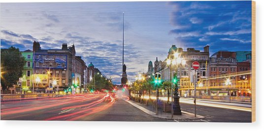 Wood Print featuring the photograph O' Connell Bridge At Night - Dublin by Barry O Carroll
