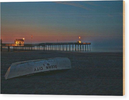 Ocean City  N J Sunrise Wood Print