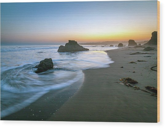 Ocean Seascape Sunset Wood Print