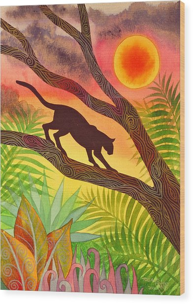 Ocelot At Sunset Wood Print by Jennifer Baird