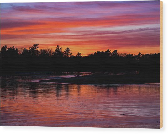 Odiorne Point Sunset Wood Print