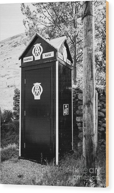 Old Aa Telephone Box With Wooden Telegraph Pole On Dunmail Raise In The  Lake District Cumbria Englan by Joe Fox
