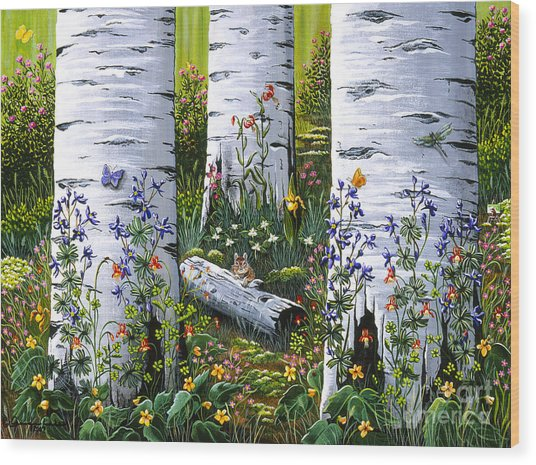 Old Aspen Grove Wood Print