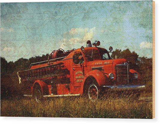 Old Fire Truck Wood Print by Off The Beaten Path Photography - Andrew Alexander