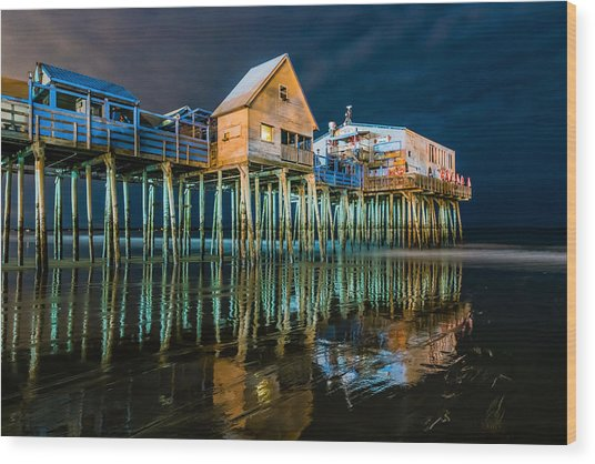 Old Orchard Dock Night Reflection Wood Print