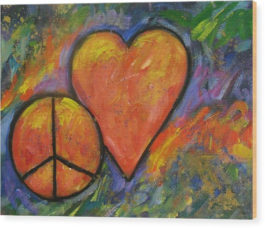 One Peace One Heart Wood Print