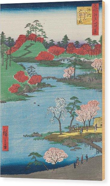 Open Garden At Fukagawa Hachiman Shrine Wood Print
