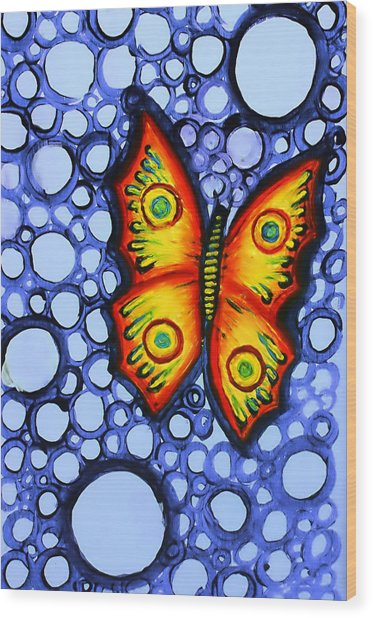 Orange Butterfly Wood Print by Brenda Higginson